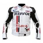 HONDA REPSOL WHITE  MOTORBIKE MOTOGP MOTORCYCLE RACING LEATHER JACKET